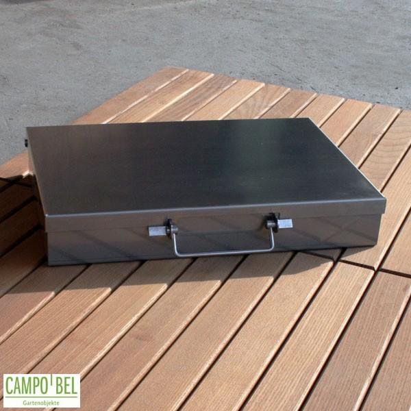 koffergrill aus edelstahl f r unterwegs und zuhause campobel. Black Bedroom Furniture Sets. Home Design Ideas