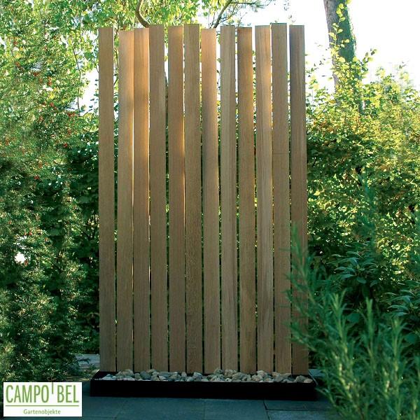 Moderner wind und sichtschutz aus eiche campobel for Holz trennwand garten